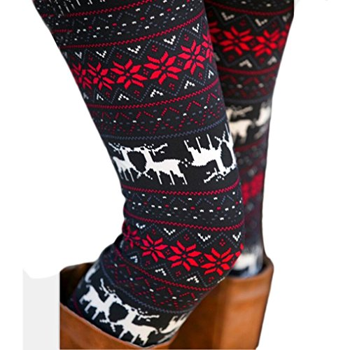 NEARTIME Legging Pants, Women Skinny Stretchy Flower Deer Printed Pencil Tight