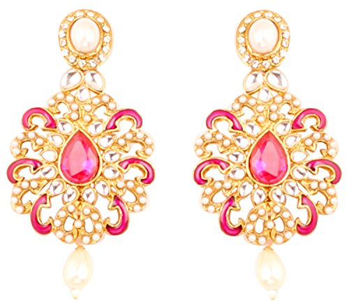 Touchstone Indian Bollywood Enamel Faux Pearls/Crystals Jewelry Earrings in Antique Gold Tone for Women