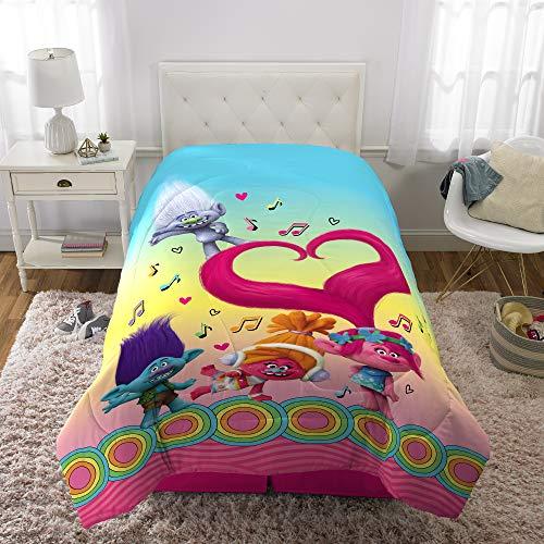 "Franco Kids Bedding Super Soft Reversible Comforter, Twin/Full Size 72"" x 86"", Trolls"