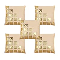 Freely Multi Color Gold Leather Patches Cushion Cover (16*16 Inches) - Pack of 5