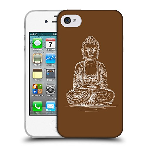 GoGoMobile Coque de Protection TPU Silicone Case pour // Q10010633 Bouddha assis 12 Sépia // Apple iPhone 4 4S 4G