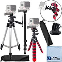 50 Inch Camera Tripod, 72 Inch Monopod with Quick Release, 12 Inch Flexible Tripod with Wrapable Disc Legs, Tripod Mount for All GoPro HERO Cameras & an eCostConnection Microfiber Cloth