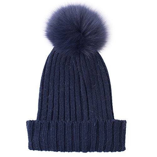 MONICA REA Women's Hand-Made Knitted Winter Beanie Hat Cap With Cute Real Fur Pompom - Red Fox It Adult Womens Costumes