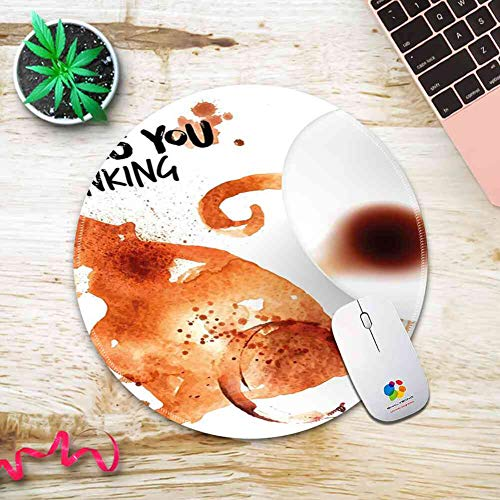 Sienna Coffee - Round Mouse Pad Mousepad with Coffee Art,Thinking Monkey Animal with Fun Lettering and Inverted Coffee Cup,Burnt Sienna Black White Pattern Gel Rubber for Gaming Office - 200MMx3MM