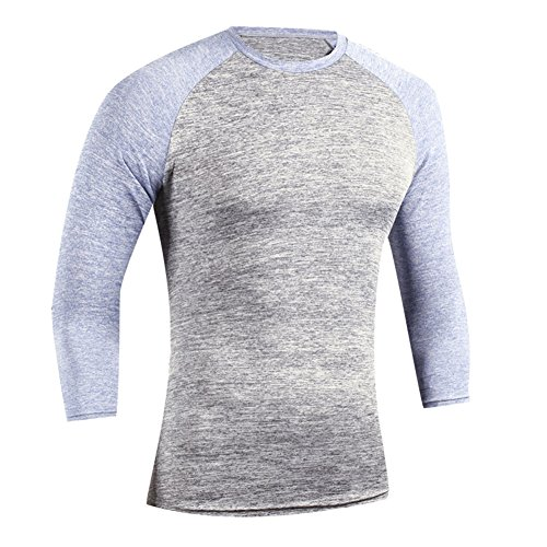 TenMet Men's Outdoor Round Neck 3/4 Sleeve Sports T-Shirt Simple Wild Body Tight Athletic Compression Training T-Shirt Sport Running Top Size L 3/4 Sleeve Athletic T-shirt