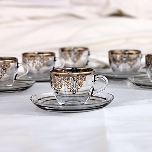 Ankara Stoned Platinum Turkish Coffee Cup Set With Holder. Silver Arabic Coffee Cups Set 12 Pcs- Arabic Coffee Cups-Espresso Cups For Six Person ...