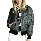 Womens Vintage Bomber Jacket Ladies Girls Classic Zip Up Stylish Biker Moto Tops Coat Green