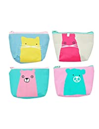 iSuperb Pack of 4 Canvas Coin Purse Cute Cartoon Animal Zipper Small Wallet for Coins Cash Cards USB Headset keys (Bear Cat and Rabbit)