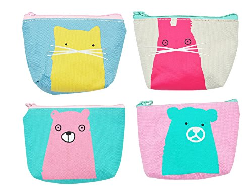 Spring Coin Set - iSuperb Pack of 4 Canvas Coin Purse Cute Cartoon Animal Zipper Small Wallet for Coins Cash Cards USB Headset Keys (Bear Cat and Rabbit)