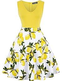 OTEN Women's Sleeveless V Neck Sewing Floral Print Contrast Evening Prom A Line Dress