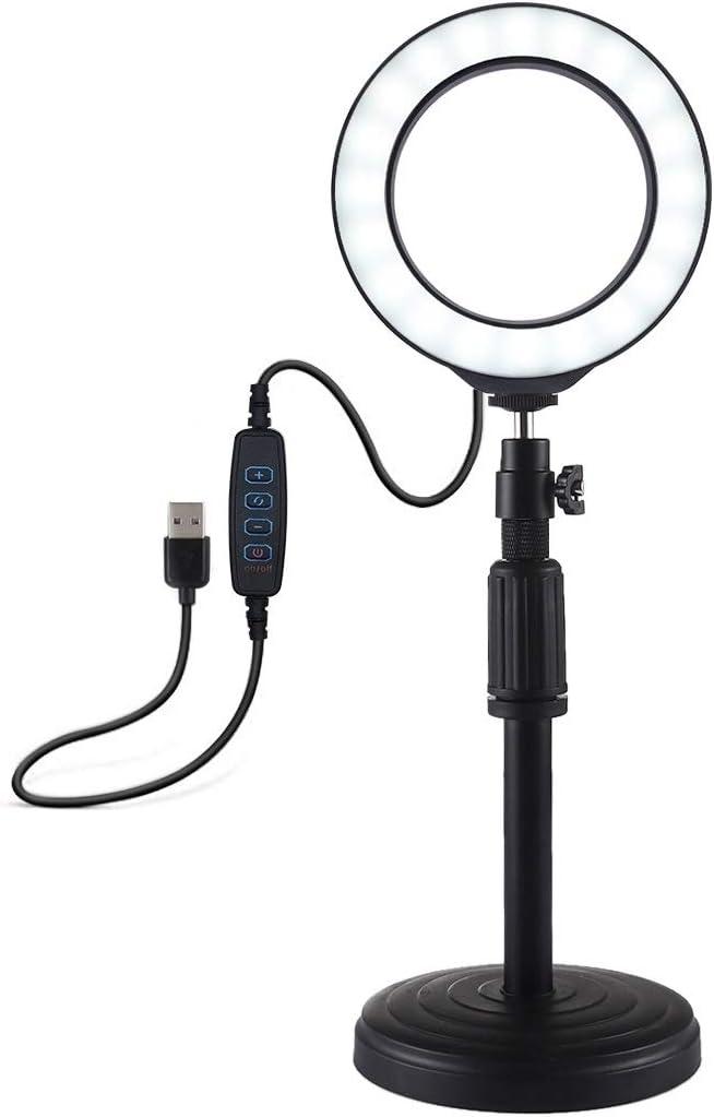 Adjustable Height HUIFANGBU Round Base Desktop Mount 18cm-28cm 4.7 inch 12cm 3 Modes USB Dimmable LED Ring Vlogging Video Light