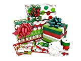 Christmas Rolled Premium Gift Wrap Ribbon and Gift Tags Kit