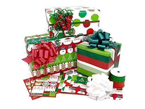 Christmas Rolled Premium Gift Wrap Ribbon and Gift Tags Kit by Designs by DaVal