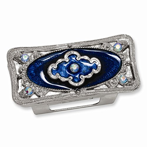 ICE CARATS Silver Tone Blue Enameled Lipstick Holder Travel Pill...