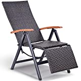 Tangkula Adjustable Chaise Lounge Chair Folding Reclining Beach Yard Pool Rattan Chair