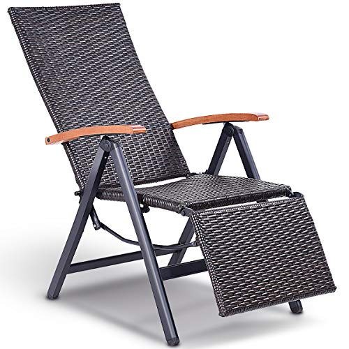 Tangkula Adjustable Chaise Lounge Chair Folding Reclining Beach Yard Pool Rattan Chair