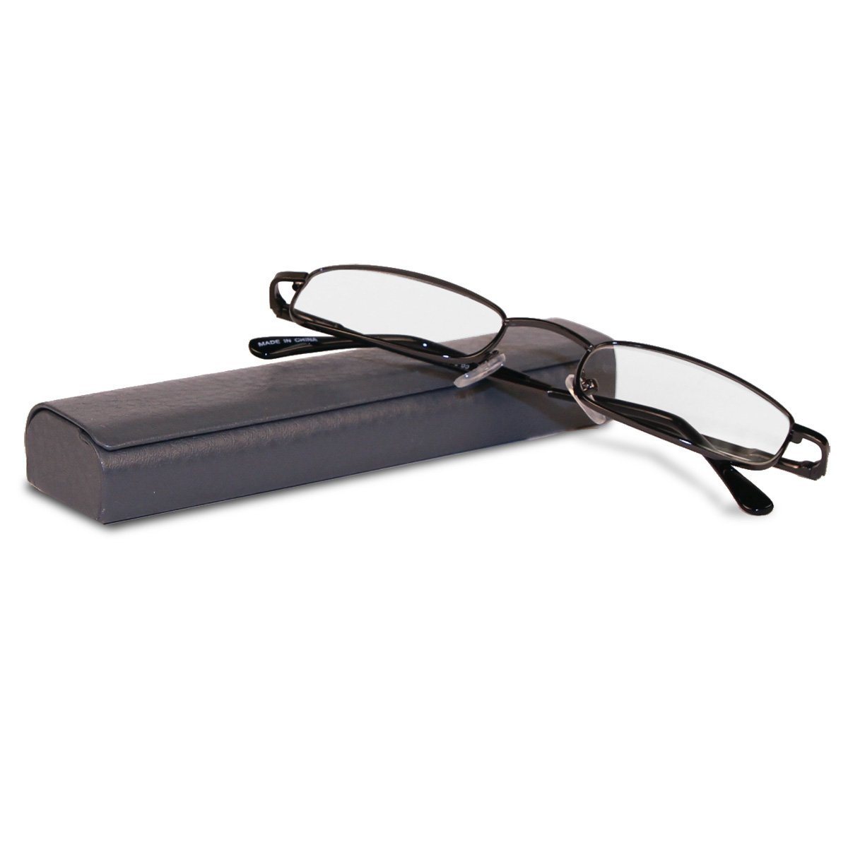 21fda3fc9755 Amazon.com  Classic Spring Hinged Reading Glasses with Leather Case (Black  + 2.00x)  Clothing