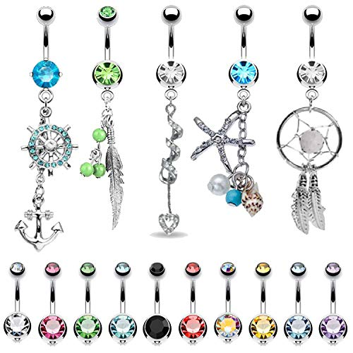 BodyJ4You 15 Belly Button Rings Dangle Barbells 14G Stainless Steel CZ Navel Body - Feather Dangle Belly Ring