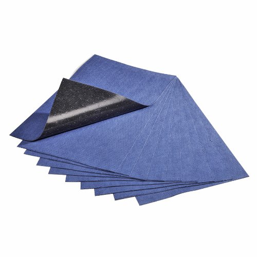 New Pig Grippy Absorbent Mat, Adhesive Backing, Stays Put to Prevent Slips, Trips & Falls, (10) 24'' x 16'' Sticky-Back Mat Pads Per Box, Blue, MAT3200