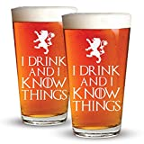 I Drink And I Know Things - 2 Pack - Engraved Beer Glass - Game Of Thrones Inspired - 16oz Clear Pint Glass - Funny Gifts for Men and Women by Sandblast Creations