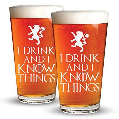 (I Drink And I Know Things - 2 Pack - Engraved Beer Glass - Game Of Thrones Inspired - 16oz Clear Pint Glass - Funny Gifts for Men and Women by Sandblast Creations)