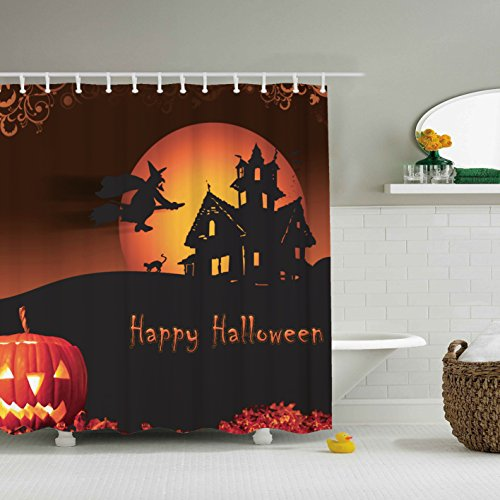 Vintage Halloween Shower Curtain - Waterproof Mildew Resistant Fabric Polyester 100% Shower Curtain.60