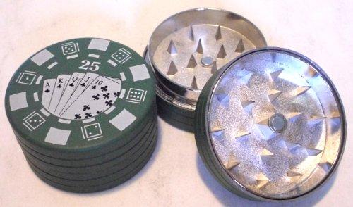 HERB GRINDER Large $25 Green Poker Chip Metal Magnetic 2 Piece 44mm (Magnetic Poker)