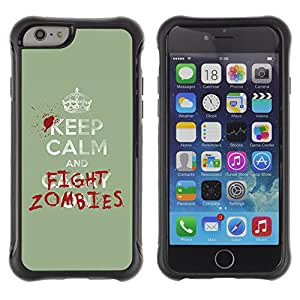 ZeTech Rugged Armor Protection Case Cover - Funny Keep Calm & Fight Zombies - Apple Iphone 6