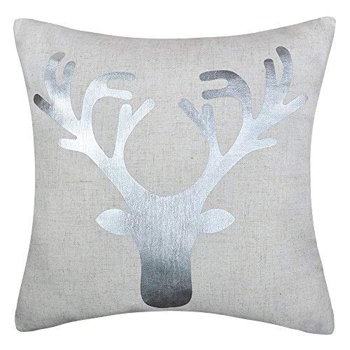 (JWH Reindeer Accent Pillow Cases Linen Cushion Covers Decorative Pillowcases Christmas Festival Home Bed Living Room Decor Shells Gifts 20 x 20 Inch Silver Foil)