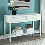 Linon Peggy Console Table in White For Sale