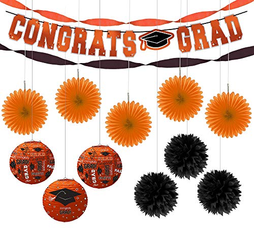 Party City Congrats Grad Orange Graduation Hanging Decorations Kit, Includes Pom Poms, Lanterns, Fans, and a Banner for $<!--$23.99-->