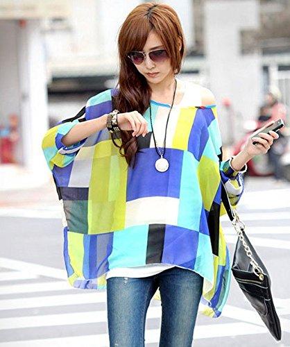 tops donna da casual Color bambina 1 unica Boemia fashionbeautybuy1 spiaggia sciolto con camicetta maglietta elegante borchie taglia floreale colorato tunica OFxUPd