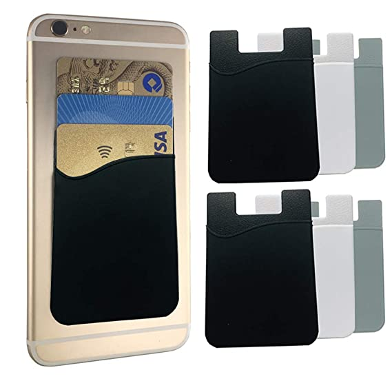 new arrival 4a935 3c3e9 KRITOMONA Cell Phone Wallet Sleeves Stick on Case (for Credit Card & Id)  iPhone, Android & Most Smartphones Works with Almost Every Phone 6 Pcs Pack  ...