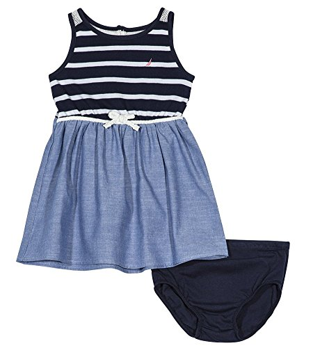 Nautica Baby Girls Patterned Sleeveless Dress, Jersey Navy, 12M (Belt Bodice)