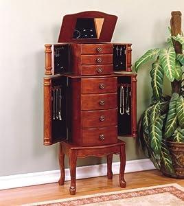 powell classic cherry jewelry armoire