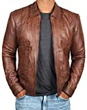 (US) BlingSoul Brown Distressed Leather Jacket Men | Wick, XL