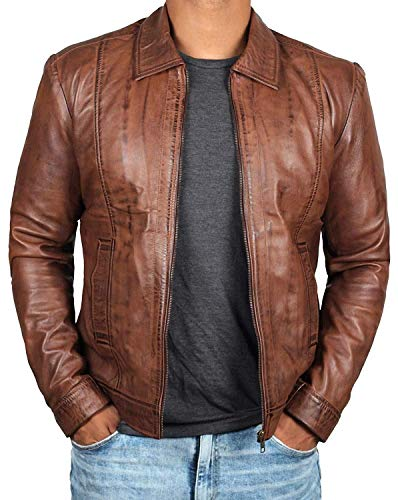 (Blingsoul Genuine Lambskin Brown Leather Jacket for Men | [1100374] Wick, L)