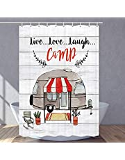 MERCHR Camper Shower Curtain, Rustic Farmhouse RV Shower Curtain for Camping Trailer Gray Wooden Board Shower Curtain Set, Waterproof Fabric Bathroom Decor with Hooks, 47X64 Inches