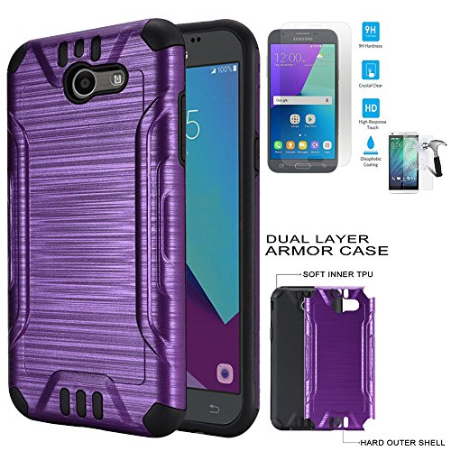 Phone Case for Straight Talk Samsung Galaxy J3-Luna-Pro / J3-Emerge / Galaxy-Express-Prime-2 4G LTE Tempered Glass with Dual-Layered Cover (Combat Brush Purple-Black TPU-Tempered Glass)