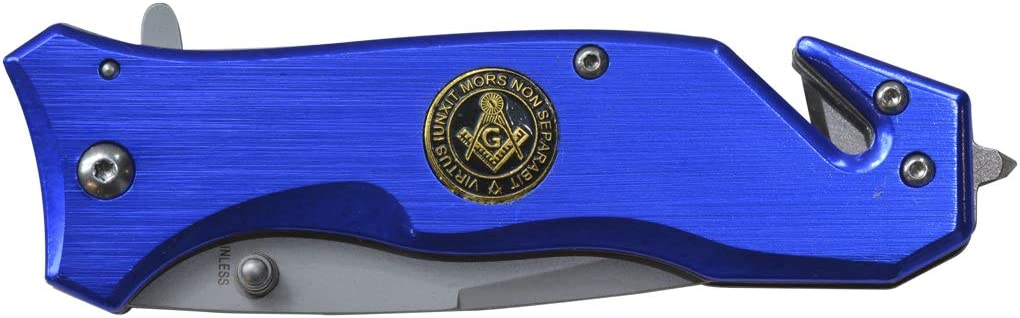 Virtus Iunxit Mors Non Separabit Square Compass Blue Masonic Folding Pocket Knife – 3 1 4 Blade – 8 Overall