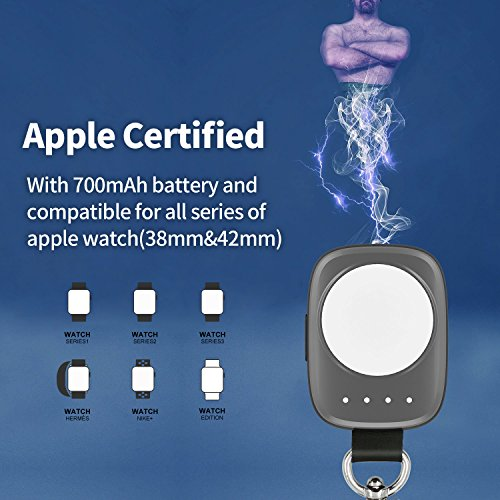 Wireless PortableApple Watch Charger[Apple MFI Certified],iWatch Charger Pocket-sized Wireless Portable Battery for Apple Watch Series 3 2 1 Nike 38mm 42mm (grey) by Firenew (Image #3)