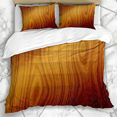 Ahawoso Duvet Cover Sets Queen/Full 90x90 Hardwood Brown Table Wood See My Board Red Wooden Oak Panel Planks Dark Microfiber Bedding with 2 Pillow Shams