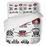 SanChic Duvet Cover Set Red Warrior Karate School Labels Samurai Swords Masks Japanese Culture Design for Sign Aikido Decorative Bedding Set with 2 Pillow Shams Full/Queen Size
