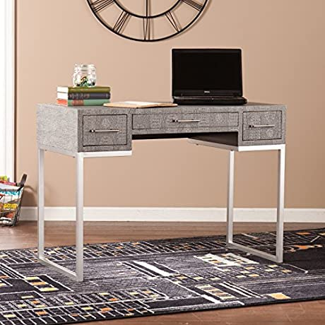 Carabelle Reptile Desk In Matte Silver And Black