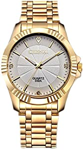 Mens Classic Style Golden Stainless Steel Mens Wrist Watches with Crystals For Man White