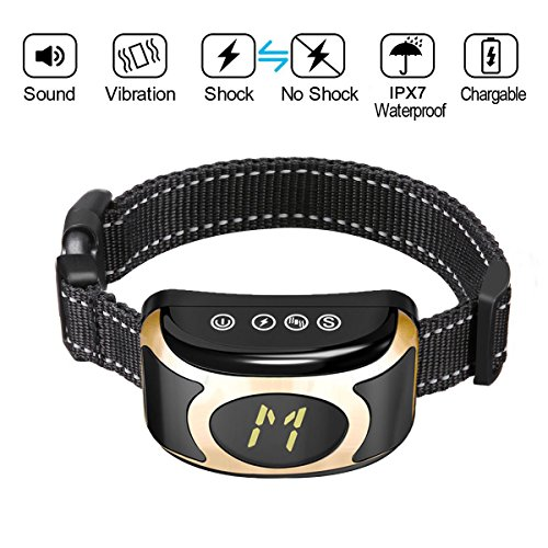 Petyeah Bark Collar,Adjustable H/M/L Sensitivity & Intensity Levels,Rechargeable & Waterproof,Dog Bark Collar With Beep Vibration/Shock Modes,No Barking Collar For Small Medium Large Dog,10-100lbs by Petyeah