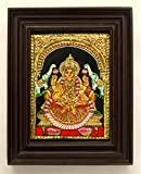 Chola Impressions Gajalakshmi Tanjore Painting - 22 carat Gold Foil coated - 8 In x 10 In