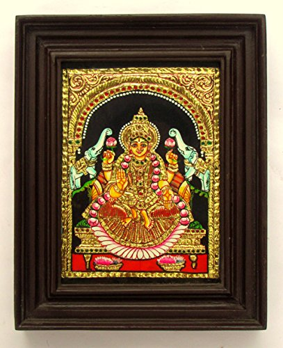 Chola Impressions Gajalakshmi Tanjore Painting - 22 carat Gold Foil coated - 8 In x 10 In by Chola Impressions