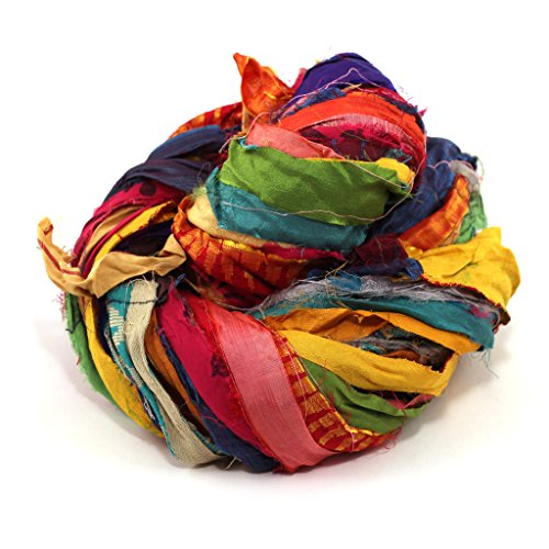(Darn Good Yarn Recycled Handmade Sari Silk Ribbon At the Bahamas Multicolor Yarn | Silk Ribbon, Knitting Yarn, Crochet Yarn | Jewelry Making, Gift Wrapping Ribbon | 100 grams, 55 yard)