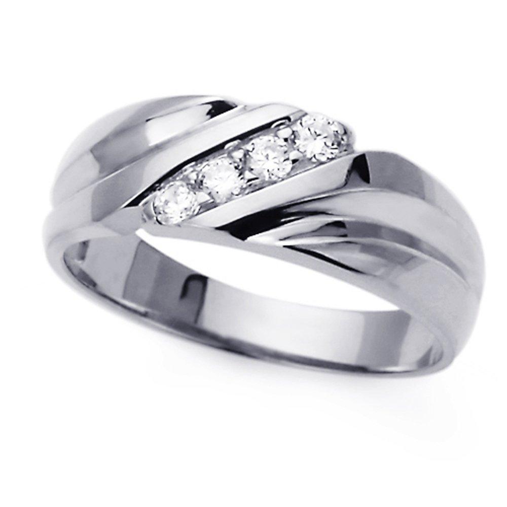 Pequeños Tesoros - Anillo de mujer - de Oro Blanco (14k) Boda y de Compromiso Circonita Anillo De Matrimonio: Amazon.es: Joyería
